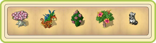 Name:  Grounded plumeria tree, Gudrun the knee-high dragon, Hibiscus (Gold purchase), Hibiscus (Ruby pu.jpg