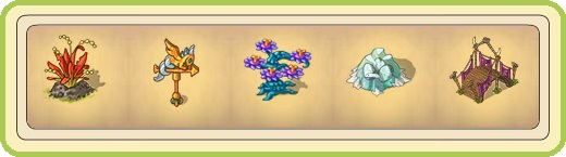 Name:  Volcano plant, Weather dragon, Wild flare, Winter dragon's nest, Wooden dragon bridge.jpg