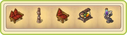 Name:  Bench of the dragon guild (2 seats), Cairn, Chair of the dragon guild (1 seat), Chest with drago.jpg