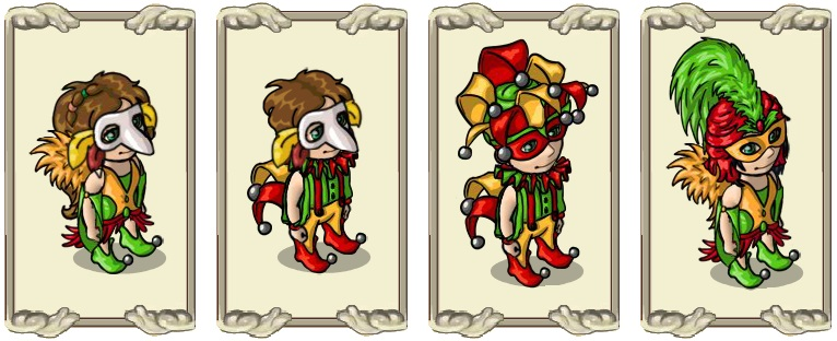 Name:  Classic Mask (female) and (male), Colourful jester's hat (male), Colourful jester's wig (female).jpg