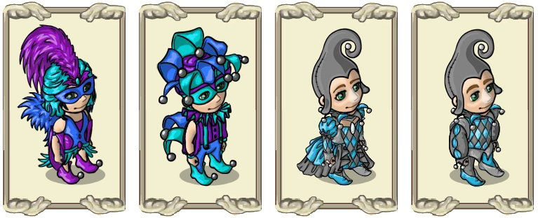Name:  Elegant jester's dress (f) and (m), Two-tone jester costume (f) and (m).jpg