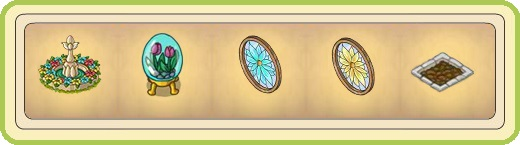 Name:  Floral fountain, Floral glass egg, Floral window (blue), Floral window (yellow), Fresh bed.jpg Views: 698 Size:  26.6 KB