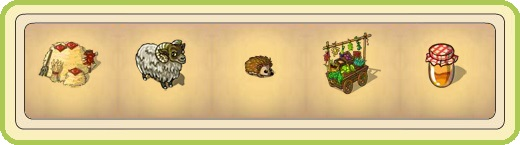 Name:  Hay stack (3 seats), Heathland sheep, Hedgehog, Herb cart, Honey jam.jpg