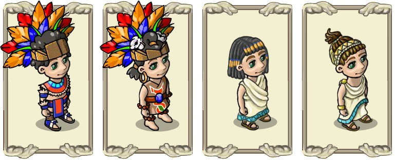 Name:  Hair Styles, Magnificent crown of feathers (m) and (f), Nile headdress (m) and (f).jpg
